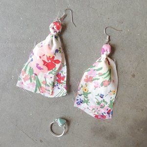 Handmade Cloth Earring and Stone Ring Set